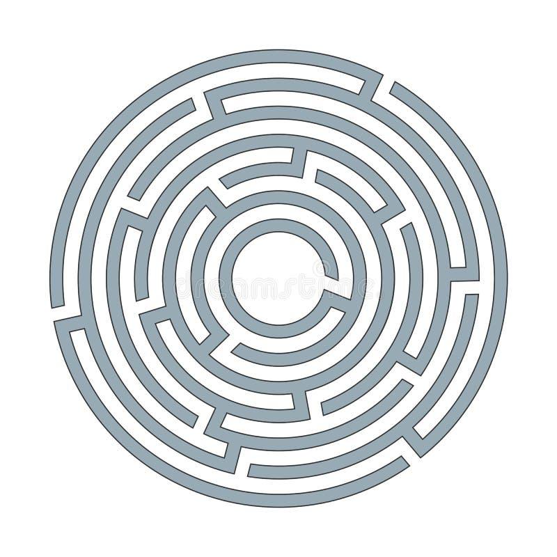 与词条的抽象圆迷宫迷宫和在白色背景的出口A平的例证逻辑思维的一个难题 库存例证