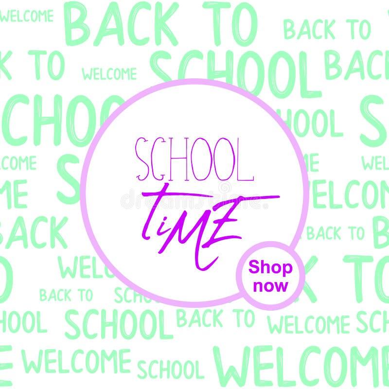 与词样式的上课时间行情回到学校印刷设计网横幅 传染媒介销售横幅,海报背景 向量例证