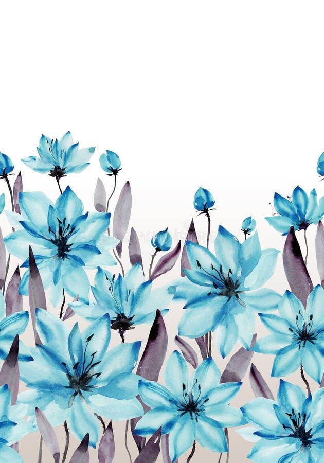 与词根的美丽的蓝色在白色背景的花和叶子 无缝花卉的模式 多孔黏土更正高绘画photoshop非常质量扫描水彩 皇族释放例证