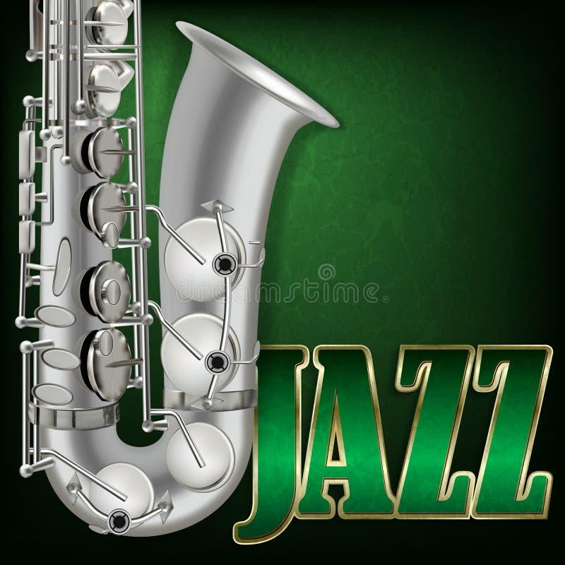 与词爵士乐和萨克斯管的抽象难看的东西音乐背景 向量例证