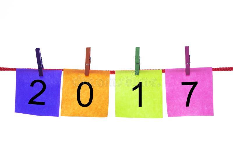 与词的五颜六色的纸牌2017年 免版税库存照片