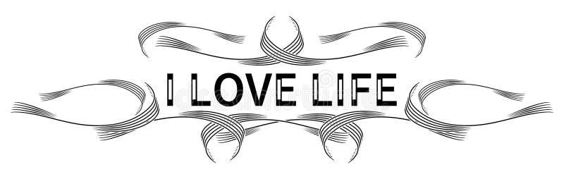 与词的五颜六色的纹身花刺我爱生活,被隔绝 库存例证