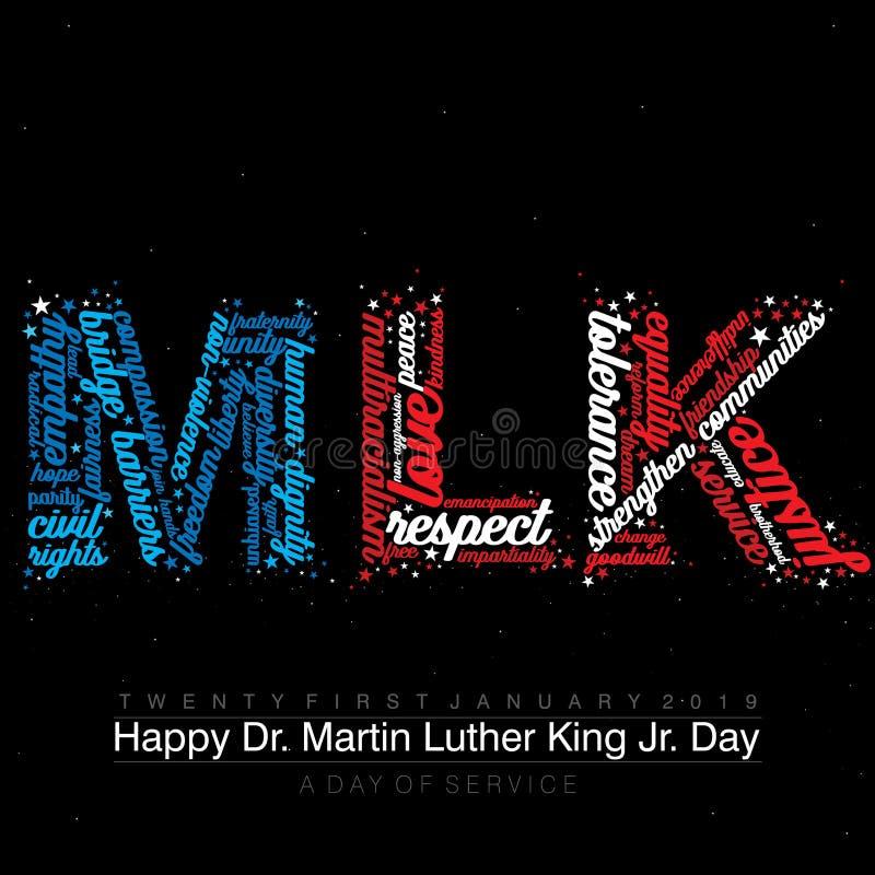 与词的印刷术设计在美国国旗颜色的文本MLK 皇族释放例证