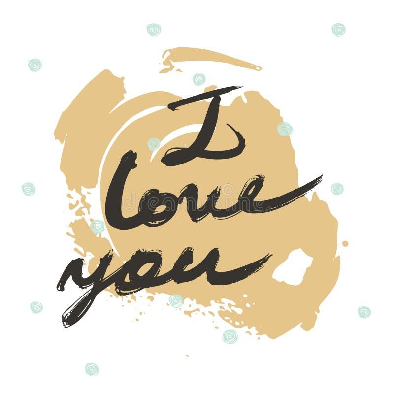 与词的手拉的字法我爱你 用液体墨水和刷子做,在徒手画的样式 在白色illustrati隔绝的传染媒介 皇族释放例证