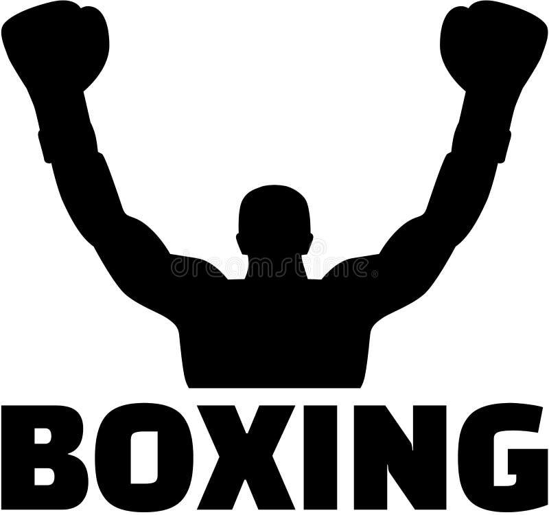 与词的拳击手赢取的剪影 向量例证