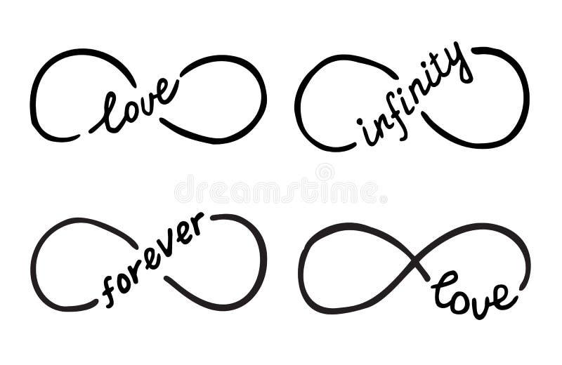 与词的无限标志爱,无限,永远 库存例证