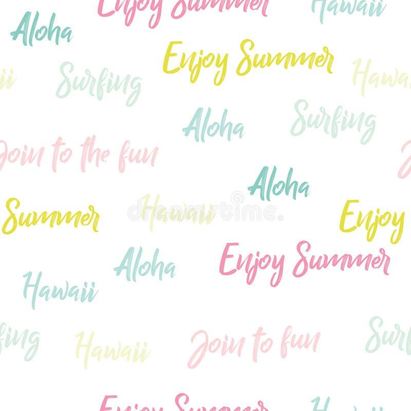 与词的明亮的无缝的样式 '喂,享受夏天, 库存例证
