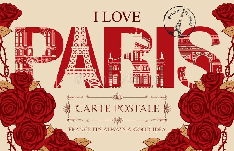 与词的葡萄酒明信片我爱巴黎 向量例证