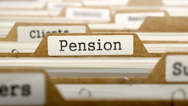 与词的退休金概念在文件夹 免版税库存照片