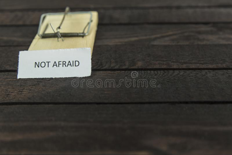 与词的Blured木老鼠陷井:不害怕 免版税图库摄影