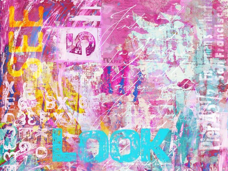 与词神色的现代五颜六色的crylic绘画 皇族释放例证