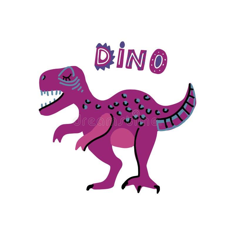 与词迪诺的传染媒介逗人喜爱的动画片手拉的恐龙 ?? 斯堪的纳维亚人t雷克斯字符的传染媒介例证为 向量例证
