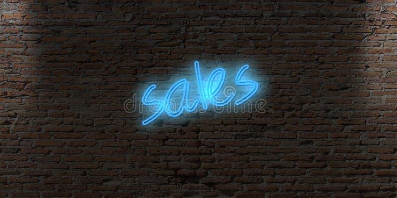 与词销售的霓虹信件标志在砖黑暗墙壁上 向量例证