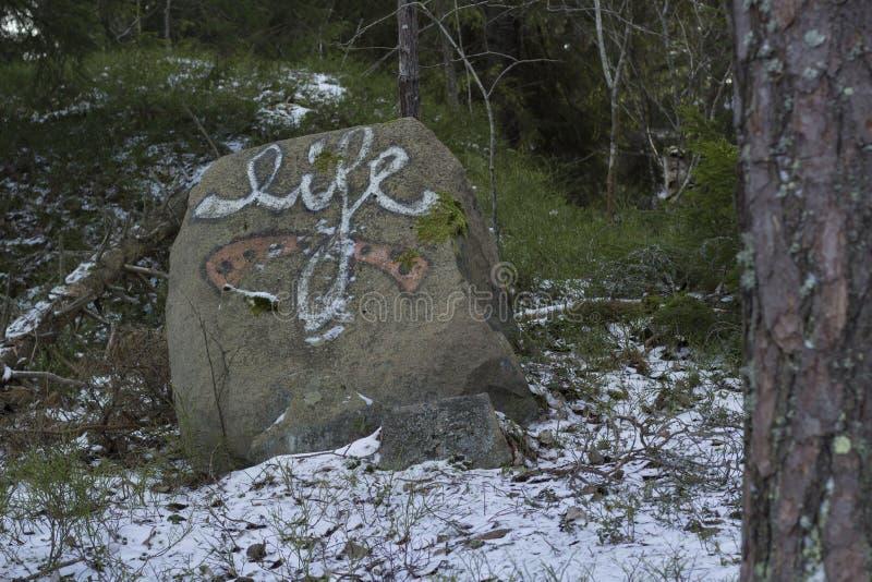 与词`生活`的街道画在石头在瑞典森林里 库存照片