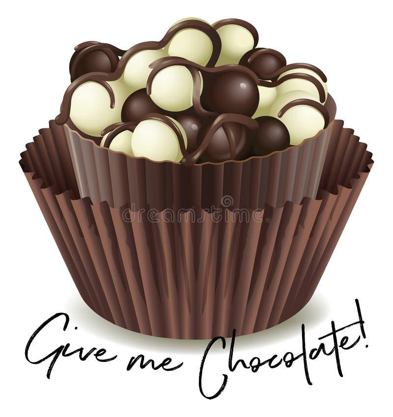 与词组的巧克力杯形蛋糕给我巧克力 库存例证