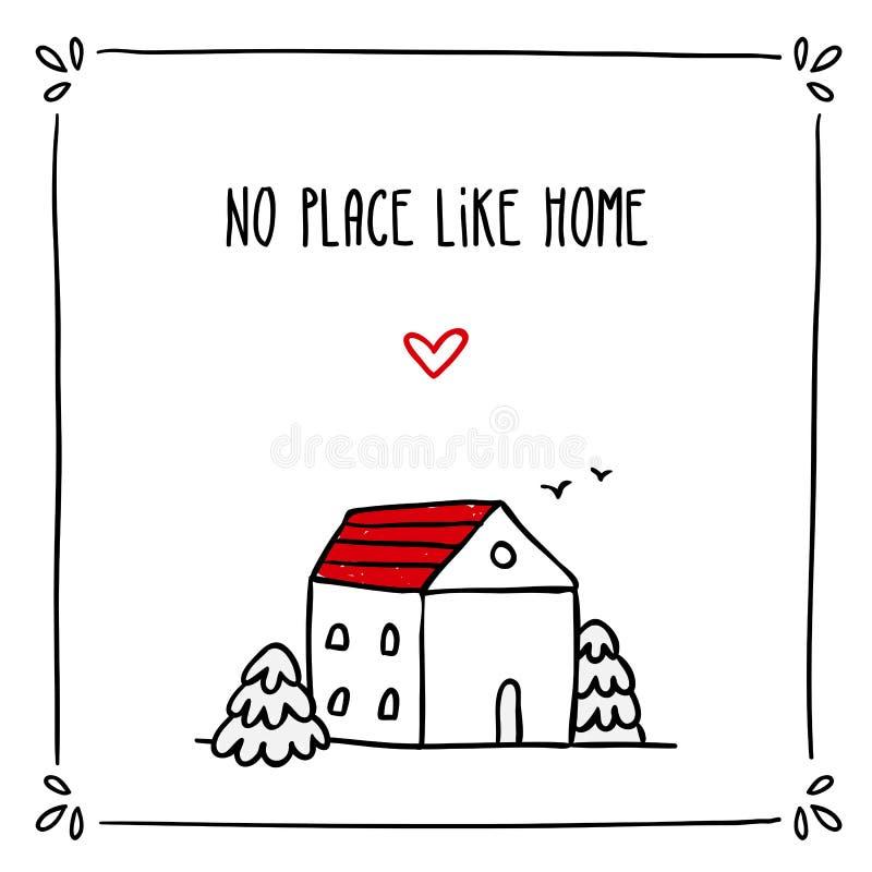 与词组的逗人喜爱的乱画卡片设计关于家庭和小剪影 库存例证