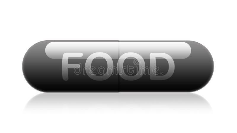 与词`食物`的胶囊药片 皇族释放例证