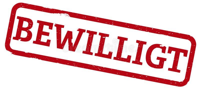 与词BEWILLIGT的红色不加考虑表赞同的人,德语为批准 皇族释放例证