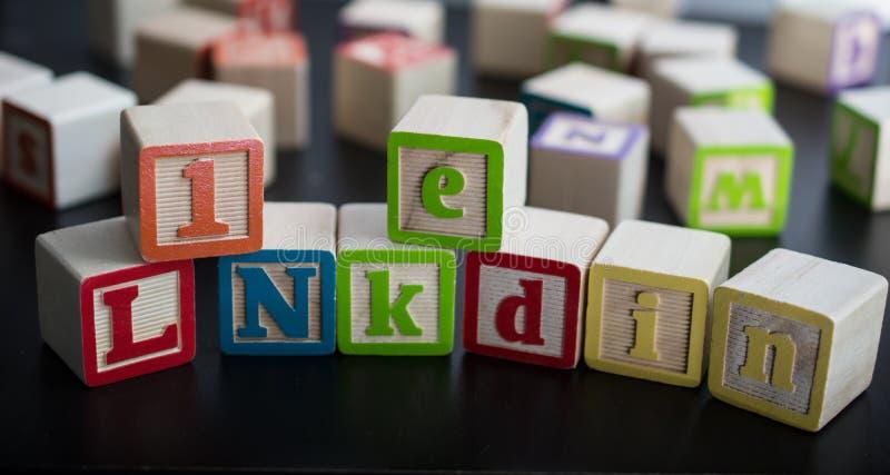 与词LinkedIn的孩子块作为社会企业networ 免版税库存照片