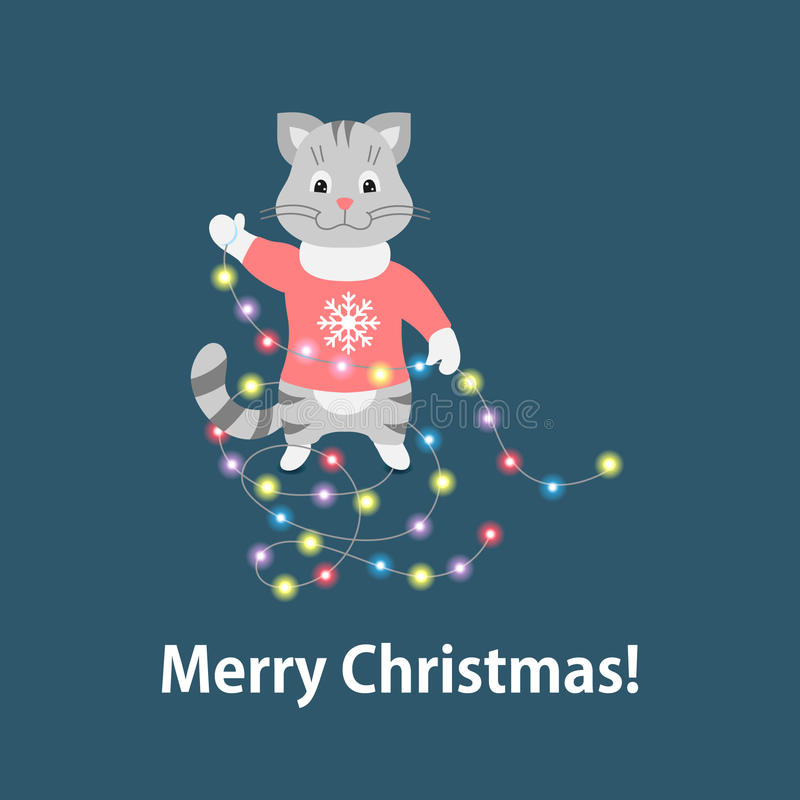 与诗歌选的圣诞节猫在蓝色背景 皇族释放例证