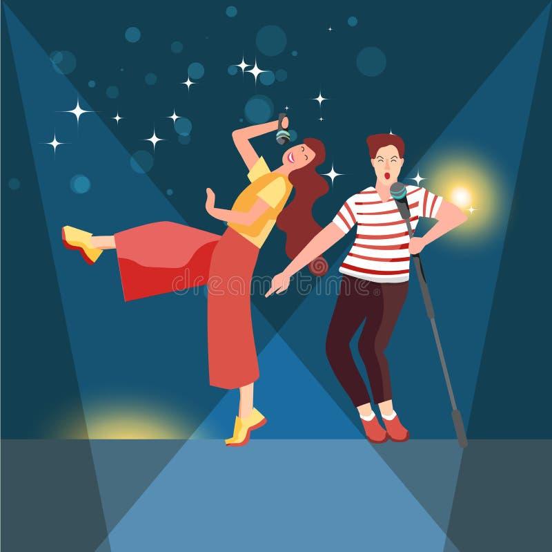 与话筒年轻人的唱歌和跳舞观众的一个音乐会的或唱歌在卡拉OK演唱俱乐部 皇族释放例证