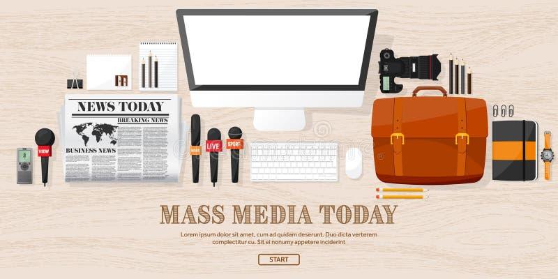 与话筒的大众传播媒体背景在一个平的样式 与通讯员和记者的新闻招待会 播放 皇族释放例证
