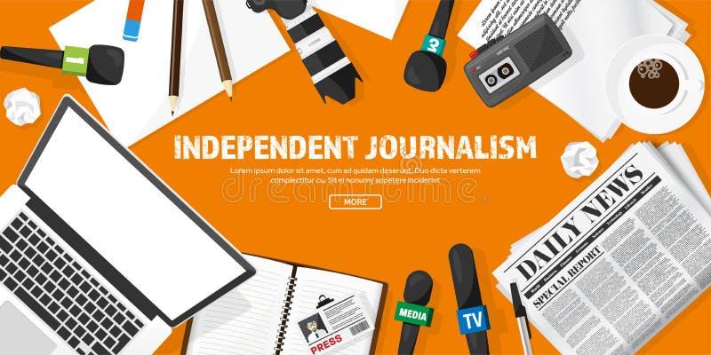 与话筒的大众传播媒体背景在一个平的样式 与通讯员和记者的新闻招待会 播放 库存例证