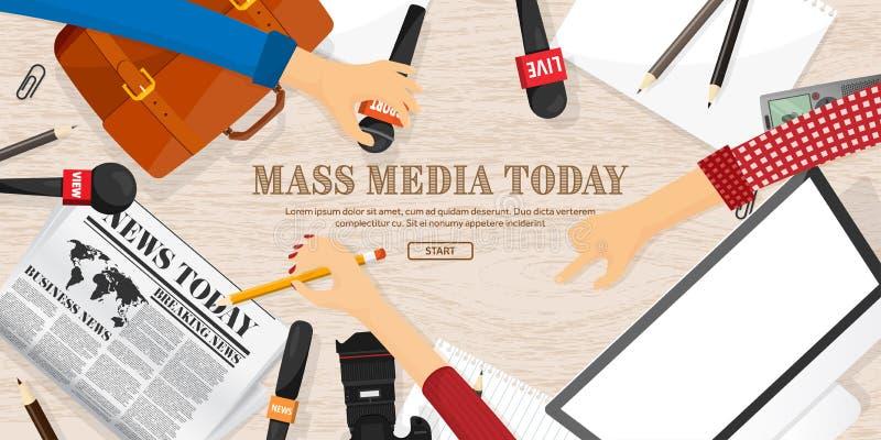 与话筒的大众传播媒体背景在一个平的样式 与通讯员和记者的新闻招待会 播放 向量例证