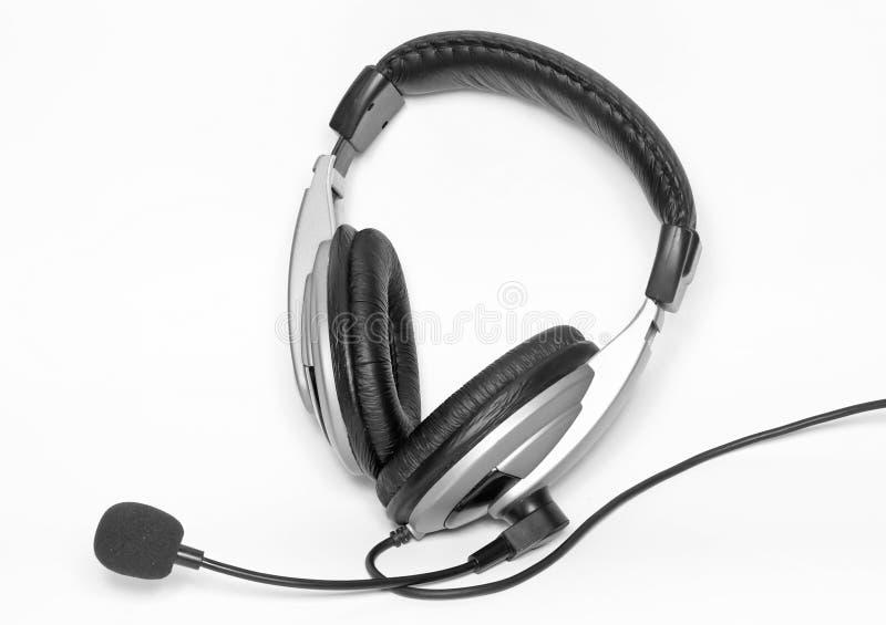与话筒的大耳机。 免版税库存照片
