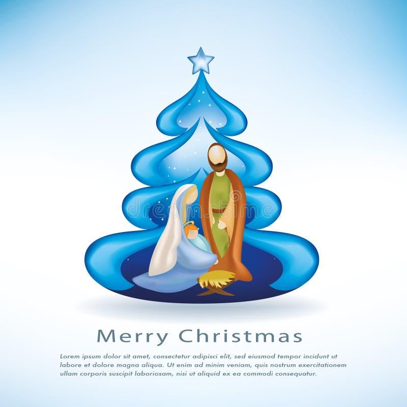 与诞生场面圣诞树的圣诞卡在蓝色背景 库存例证