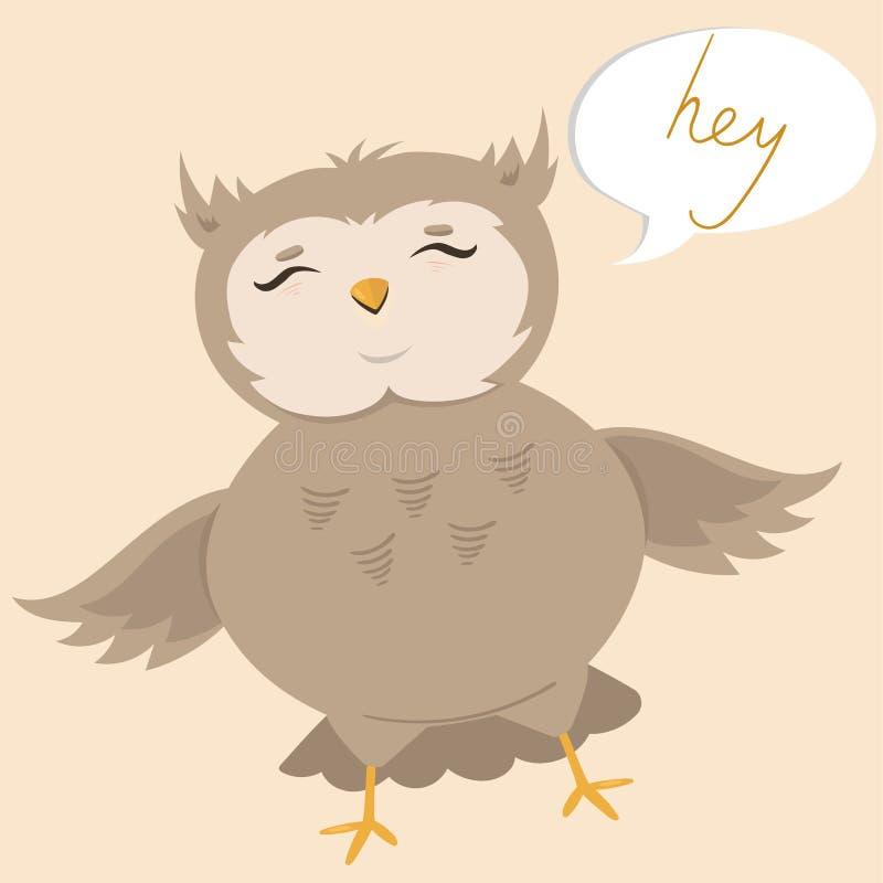与说一头逗人喜爱的猫头鹰的明信片嘿 r 库存例证