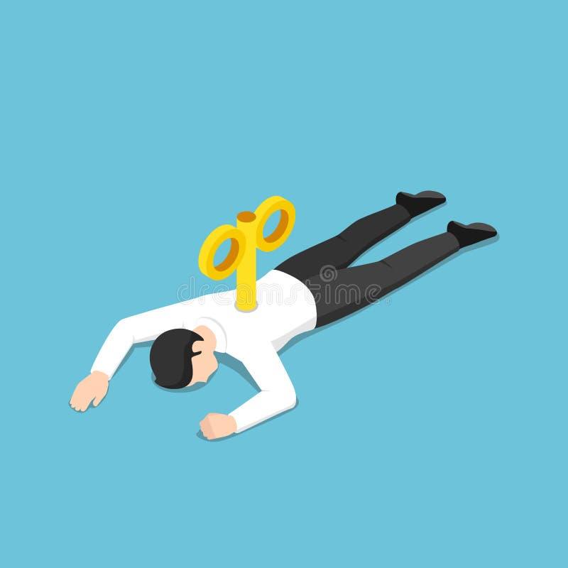 与说谎在地板上的缠绕钥匙的等量被用尽的商人 向量例证