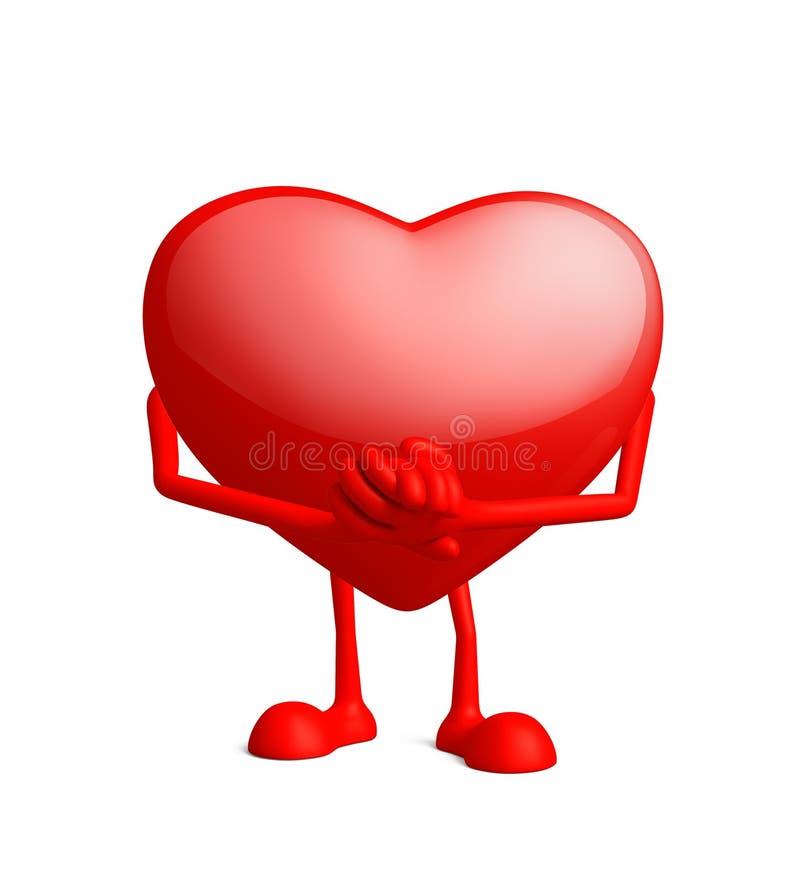 与诺言姿势的心脏字符 向量例证