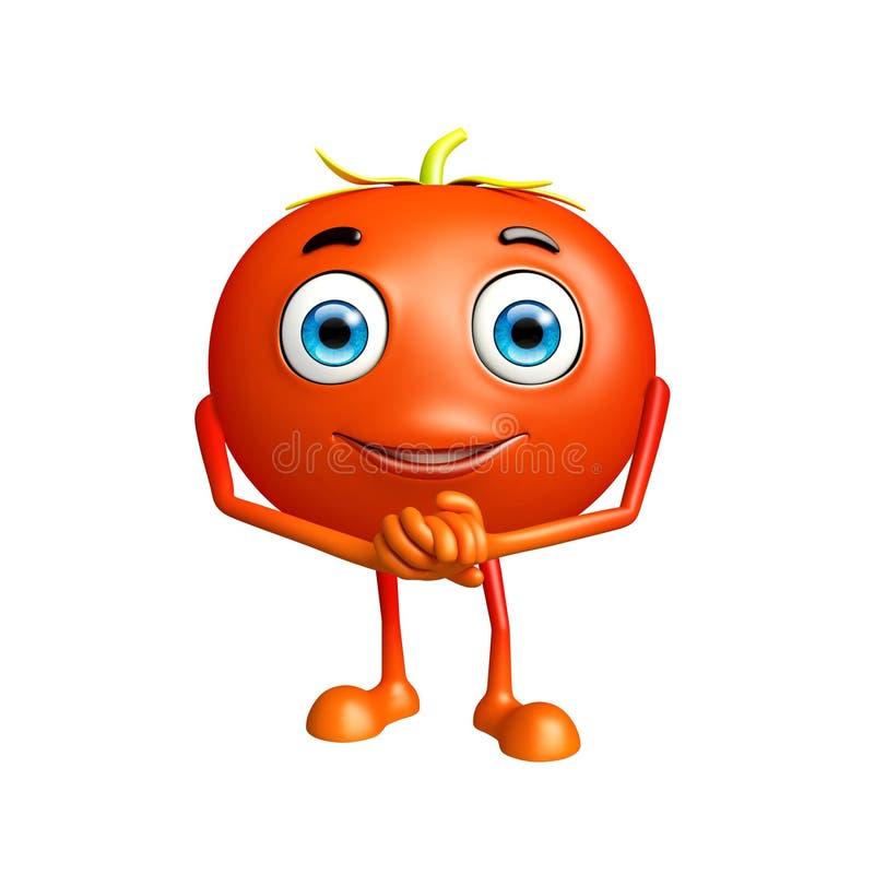 与诺言姿势的蕃茄字符 库存例证