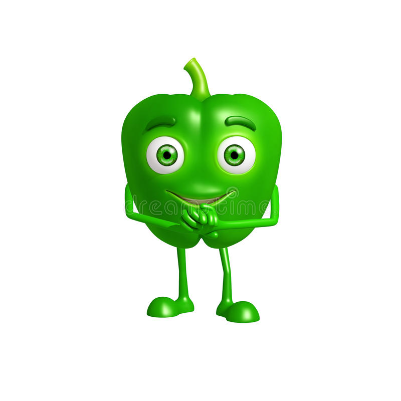 与诺言姿势的辣椒的果实字符 库存例证