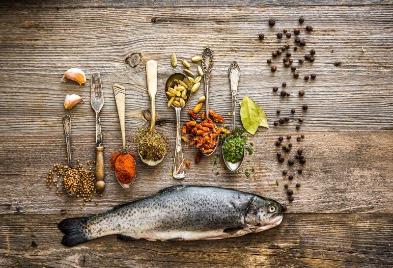 与调味料的新鲜的鳟鱼在桌上的匙子 库存照片