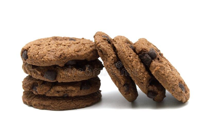 与调味的巧克力片的饼干 免版税库存图片