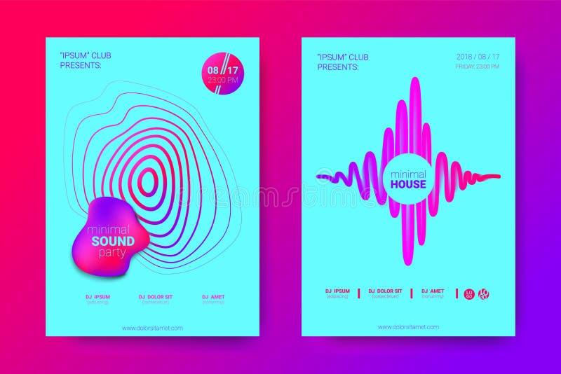 与调平器和波浪五颜六色的被变形的回合的音乐飞行物 库存例证