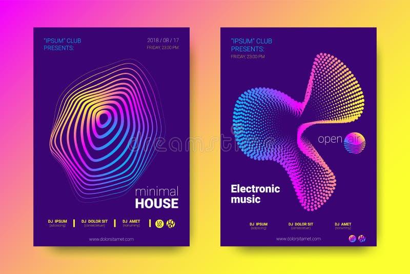 与调平器和波浪五颜六色的被变形的线的音乐海报 库存例证
