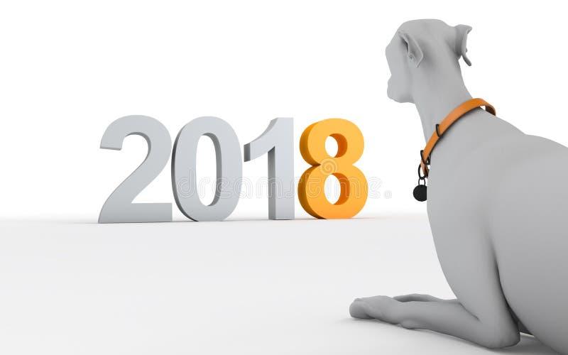 2018与谎言的新年概念尾随看2018标志 Isolat 向量例证