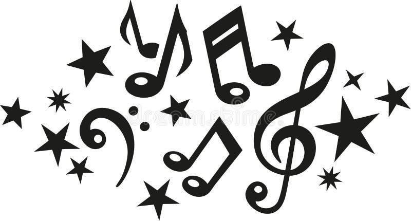 与谱号和星的音乐笔记 向量例证