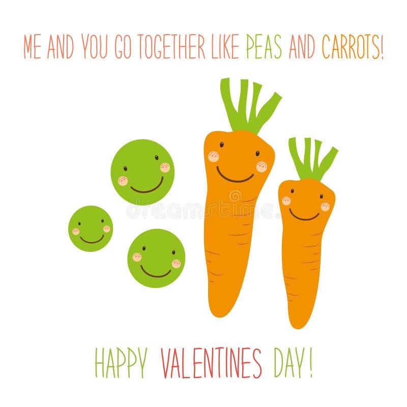 与豌豆和红萝卜滑稽的漫画人物的逗人喜爱的异常的手拉的情人节卡片  皇族释放例证