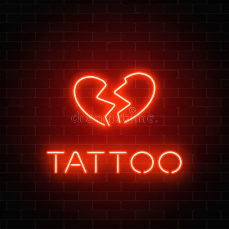 与象征的纹身花刺客厅发光的霓虹牌 在砖墙背景的伤心发光的商标 皇族释放例证