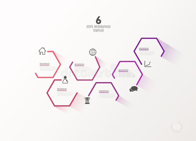 与象的六个五颜六色的六角形传染媒介进展步您的公司信息的例证和地方 向量例证