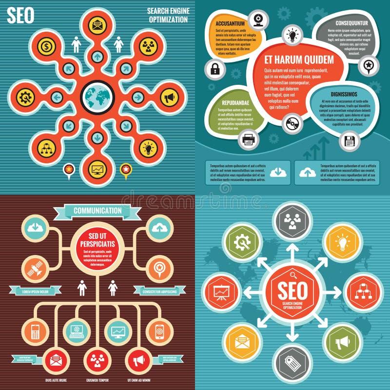 与象的抽象infographic模板概念横幅-导航例证创造性的集合 SEO布局 库存例证