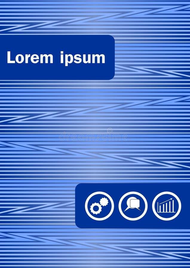 与象盘区的蓝色抽象飞行物或书套模板 与绿线样式的海报在深蓝背景、传单或者co 向量例证