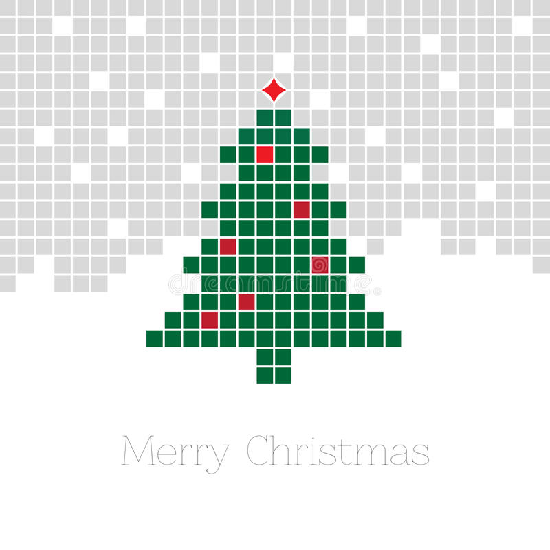 与象素圣诞树的圣诞节背景 库存例证