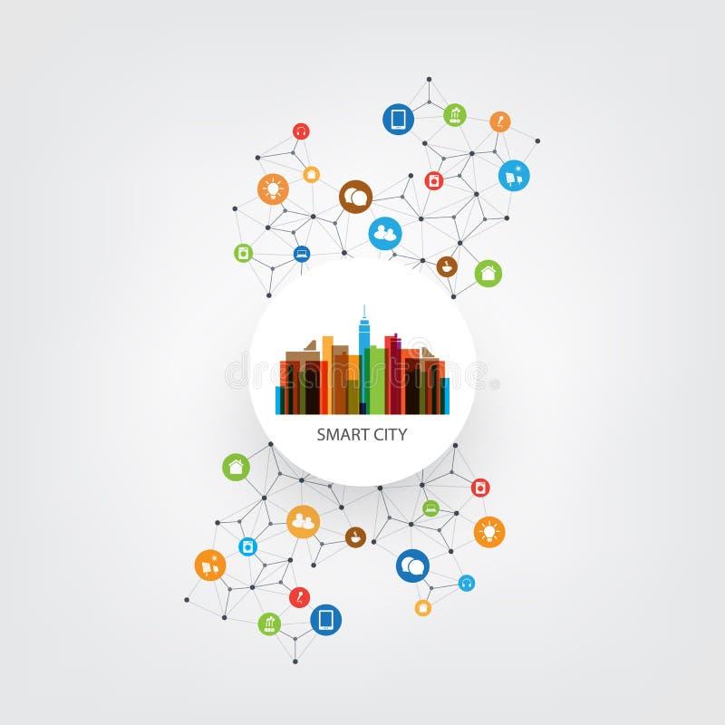 与象-数字网连接,技术背景的五颜六色的聪明的城市设计观念 向量例证