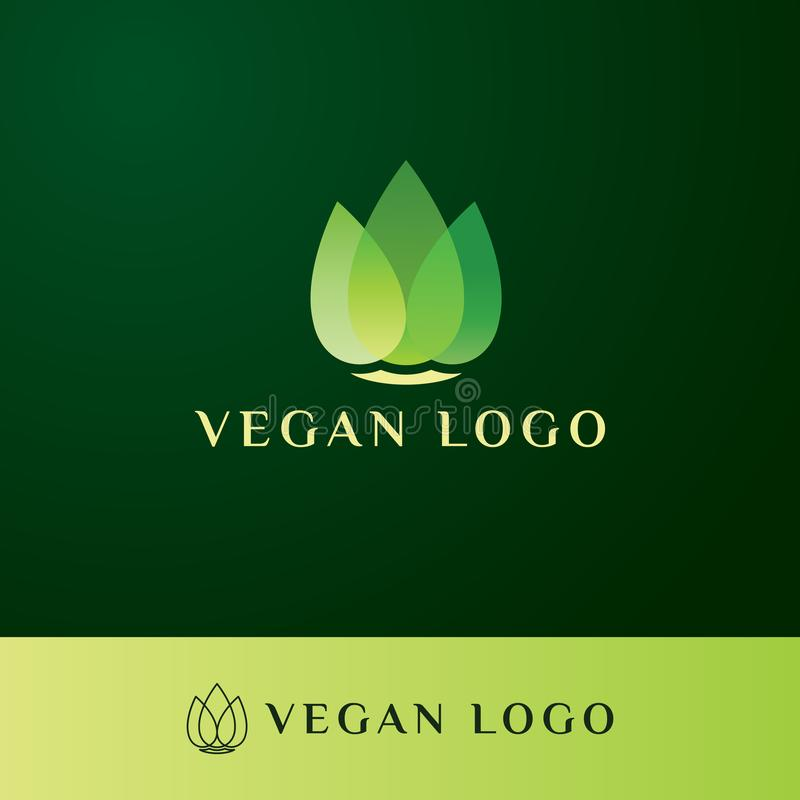 与豪华和ellegant样式的素食主义者商标 向量例证