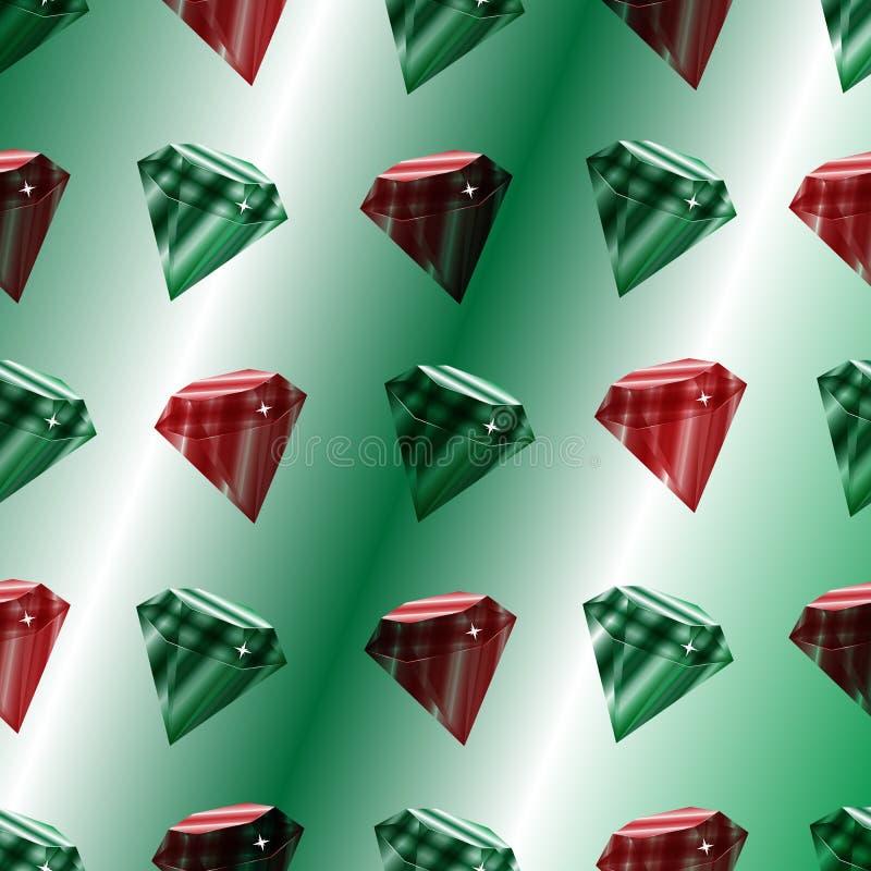 与豪华绿宝石和rubins的传染媒介无缝的样式 皇族释放例证